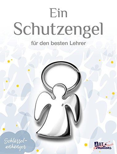 ART + emotions Schlüsselanhänger - Schutzengel Lehrer - Metall Chrom - Glücksbringer und Talisman