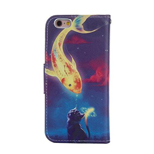 """EUDTH iPhone 6S Coque Peinture Style Housse Flip Magn¨¦tique Portefeuille Etui en Cuir de Protection Case Cover vec B¨¦quille pour Apple iPhone 6 / 6S 4.7"""" -Campanula Dreamcatcher Cat Fish Kiss"""