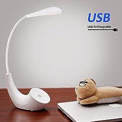 Lampe de Chevet LED, USB Rechargeable Sans Fil 3 Niveaux de Luminosité Contrôle Tactile, 5500K Blanc Lampe de Lecture Lumière Yeux Protégés, Lampe de Table avec Col de Cygne Flexible