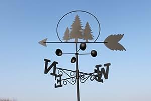 Girouette arbres en acier avec mât et fixation murale