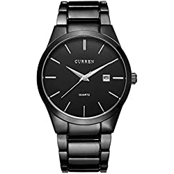 ARMRA Men Watch Auto Date Calendar Stainless Steel Band Business Fashion Casual Male Analog Dress Quartz Wristwatches Round Dial Unique Classic Simple Design Black