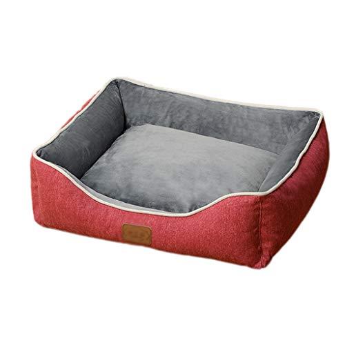 Hundehütte abnehmbar und beidseitig waschbar, Four Seasons Universalkissen groß mittel klein Hund, Sendmatte - (rot, grau) (Color : Red, Size : XL) - Wirbelkörper Der Wirbelsäule
