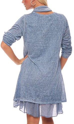 malito Robe avec écharpe Cardigan Irregular Gilet Veste Enrouler Boléro Pulls Casual 6283 Femme Taille Unique bleu