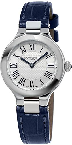 Frederique Constant Women's Leather Band Steel Case Swiss Quartz Silver-Tone Dial Watch FC-200M1ER36