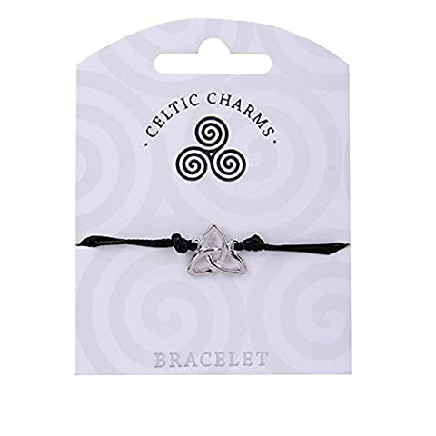 Celtic Charms Irish Trinity Knot Charm Black Cord Bracelet