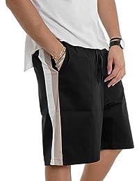 Giosal Pantalone Corto Uomo Bermuda Righe Nero Elastico Cavallo Basso Acy 0c4977f9bde3