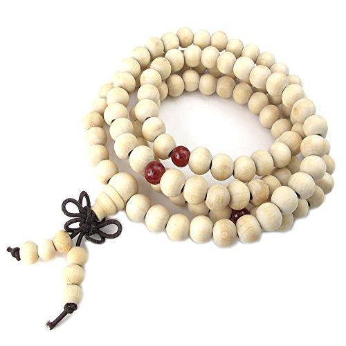 KONOV Gioielli Bracciale da Uomo Donna, 8mm Tibetano Buddista Preghiera di Mala Perline Collana, Legno, Bianco Rosso (con Borsa Regalo)