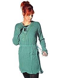 Langarm Bluse Oberteil Longshirt Kleid Shirt Träger Tank Schluppenbluse Hippie Tunika Zarina