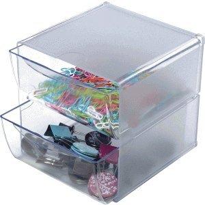 2 Schubladen Cube (Deflecto Organiser Cube transparent 2 Schubladen 15x15x18,2cm)