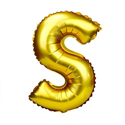 Glanzzeit 45cm Golden Luftballons Buchstaben A zu Z Zahlen 0 zu 9 Geburtstag Jubiläum Hochzeit Babyparty Deko Ballons (Buchstabe S)