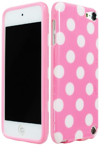 Bastexwireless Bastex Polka Dot Fall Gel Flex TPU Cover für Apple iPod Touch 5, 5. Generation Baby rosa & weiß (Ipod Touch 5 Zerolemon)