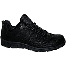 Groundwork Ladies Bases Puntera de ACERO Seguridad Trabajo Entrenador Zapatos de Encaje Ultra Ligera, Color Negro, Talla 38