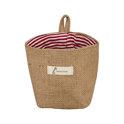 Vosarea Pflanzsack Pflanzentaschen Jute Wandtaschen Hängeorganizer Hängeaufbewahrung für Schlafzimmer Wohnzimmer Küche Deko (Rot Streifen)