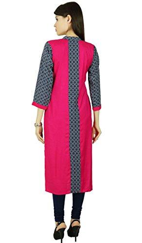 Phagun Rayon Punktiert Bollywood Kurta Frauen Ethnischen Kurti Beiläufiges Kleid Tunika Schwarz und Magenta