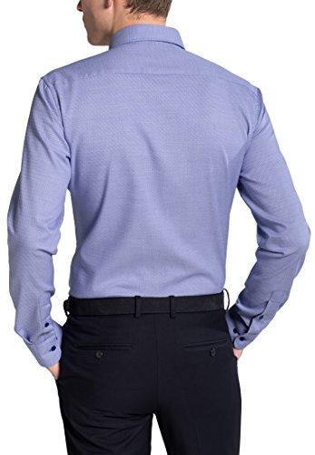 Eterna Long Sleeve Shirt Slim Fit Oxford Structured Blu