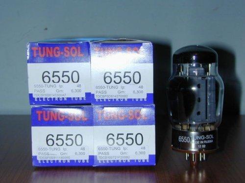 Quartetto selezionato platinum di valvole Selezionato 6550 Tung-Sol made in Russia , nuovo in confezione originale. Valvole selezionate e testate.