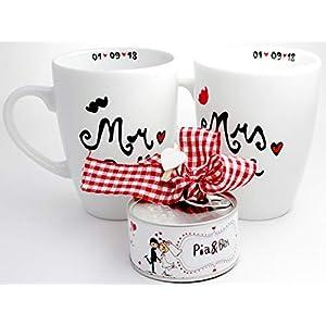 Hochzeitsgeschenk, personalisiertes Geldgeschenk, Tassen Set mit Wunschnamen und Datum, Geschenk zur Hochzeit, personalisiert, inklusive Spardose und Geschenkverpackung
