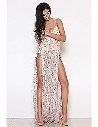 kekafu La mujer/Diario Casual Dress Swing sencilla,Solid cuello V Maxi Camiseta sin