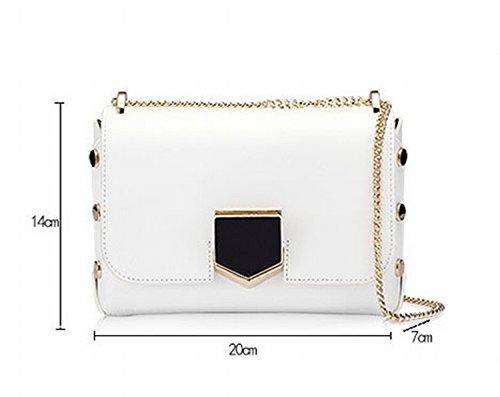 Weibliche Tasche Messenger Kette Kleine Quadratische Tasche Personalisierte Einzelne Schulter Mode Lock Paket Reines Weiß