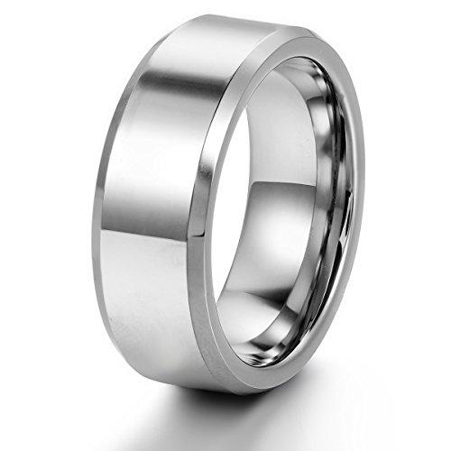 JewelryWe Schmuck 8mm Breite Herren-Ring, Verlobungsring, Wolframcarbid Ring, Engagement Hochzeit Band Größe 58