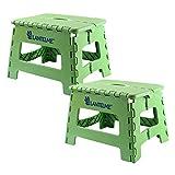 Lantelme 6778 Klapphocker 2 Stück Set in grün - Universal Hocker aus Kunststoff - Klappbar als Kinderhocker - Tritthocker oder auch als Sitzhocker
