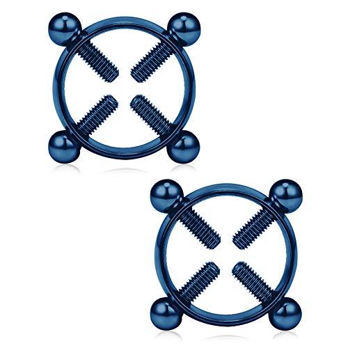 Vfun finti non-piercing capezzolo anello shield adjustable circle nickel-free acciaio inossidabile gioielli piercing un paio - rainbow