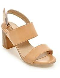 GLTER Mujeres zapatos de la corte después del viaje abierto-Toed de tacón alto sandalias bombas , apricot , 37