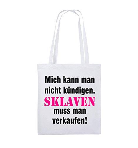Comedy Bags - Mich kann man nicht kündigen. Sklaven muss man verkaufen! - Jutebeutel - lange Henkel - 38x42cm - Farbe: Schwarz / Weiss-Neongrün Weiss / Schwarz-Pink