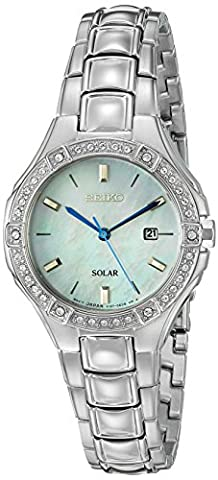 Seiko SUT281P9 Mother of Pearl & Silver Stainless Steel Women's Solar Watch Steel