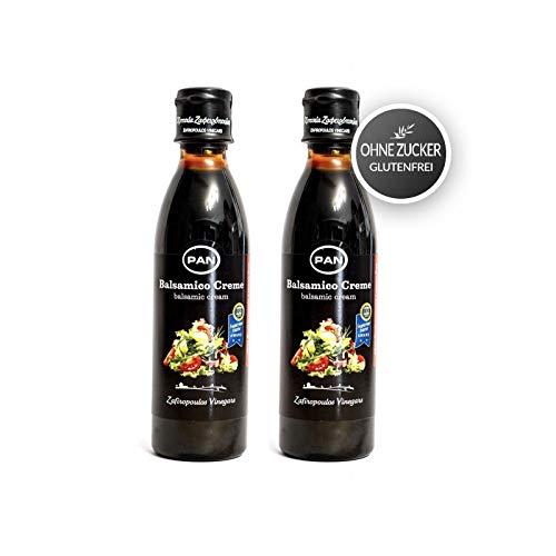 Premium Balsamico Creme ohne Zucker Zusatz | griechischer fruchtiger Balsamico | Balsamic Cream | Gluten Frei | Fettfrei 2x 250 ml Flasche