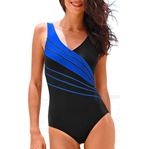 Damen Einteiler Badeanzug,Ulanda-EU Einteilige Bauchweg Frauen Sexy Bademode Neckholder Schwimmanzug Gestreifter Druck Figurformend Strandmode Badesachen fur Teenager Mädchen