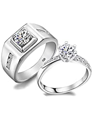 Diseño clásico plata de ley 925Austria Crystal Rhinestone Anillos de Boda para hombres mujeres compromiso Jewelry (hembra, o)