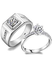 Anillos de Boda, Diseño clásico, plata de ley 925 y cristales, para hombres y mujeres, joyería de compromiso…