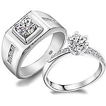Anillos de Boda, Diseño clásico, plata de ley 925 y cristales, para hombres y mujeres, joyería de compromiso (mujer, Q)