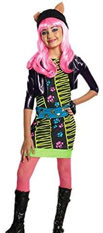 Confettery - Mädchen Kostüm Monster High Howleen mit Kleid, Jacke, Gürtel, Handschuhe und Strumpfhose, 134/140, Mehrfarbig
