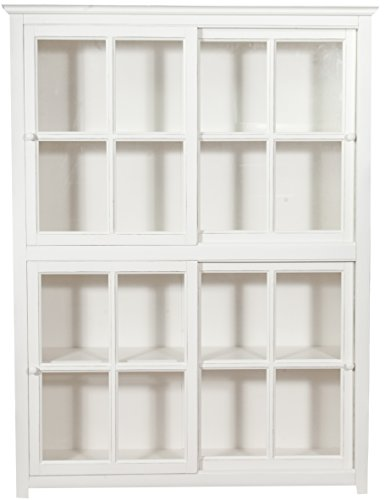 Bibliothèque créneau en bois massif de tilleul avec portes coulissantes, finition blanche vieillie L154 x PR37 x H212 cm