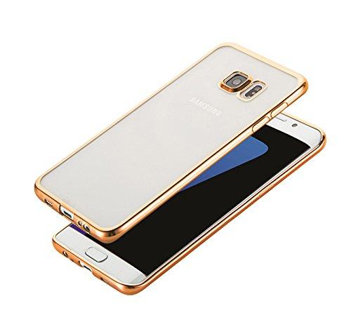 Minto iPhone 6 Plus/ 6s Plus Hülle, 0.8mm Ultradünne mit Überzug Farbig Rahmen Silber TPU Schutzhülle Weiche Silikon Transparent Case Cover für iPhone 6 Plus / 6S Plus Gold -s7 edge