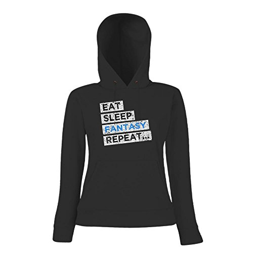 Hobby Fantasy #1 Hoody | Fantasy-Hoody | Eat Sleep Repeat | Fancy | Frauen | Kapuzenpullover Schwarz
