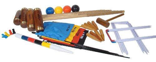 Bex 512-900 - Krocket Britannic für 4 Spieler mit Holzbox, Gartenspiel