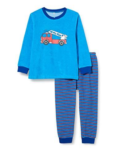 Playshoes Jungen Frottee Feuerwehr Zweiteiliger Schlafanzug, Blau (Blau 7), 86