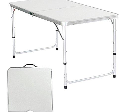 begorey Campingtisch aus Aluminium Gartentisch Klappbar 120 x 60cm Klapptisch Höhenverstellbar Tragbar Esstisch Reisetisch Campingmöbel Falttisch im Freien