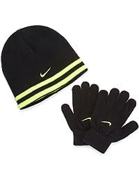 900659812f7d Nike Swoosh réversible Knit Ensemble Bonnet et Gants Noir Volt SZ ...
