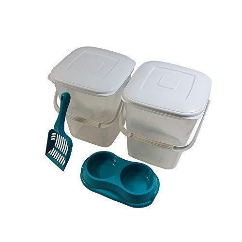 4 Pce Ensemble Compagnie 10L Rangement Nourriture Plastique Poubelle Tubes Bleu Sarcelle Scoop & Double Bol