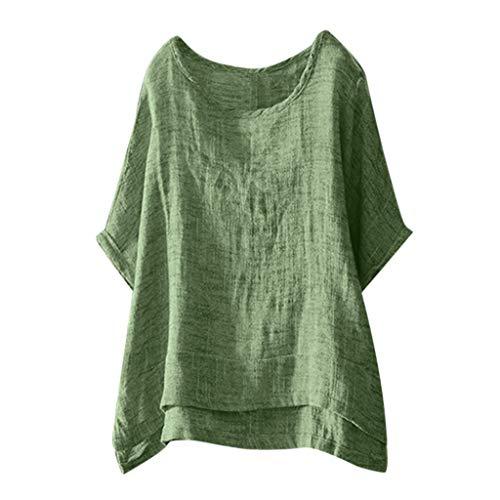 POPLY Lässige Damen Baumwolle und Leinen Bluse Einfarbig O-Ausschnitt Kurzarm Lose Oberteile T-Shirt Casual Tops (Green,XXL)