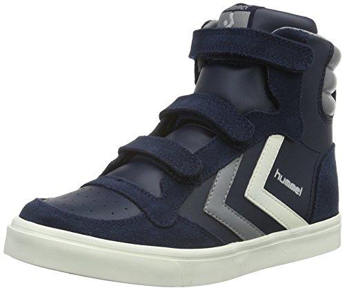 hummel Stadil Leather Sneaker JR, Scarpe da Ginnastica Alte Unisex - Bambini, Blu (Total Eclipse), 35 EU