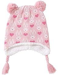 19dd04724 XIAXIACP Niño Niña Sombreros Otoño E Invierno Patrón De Dibujos Animados  Rosa Más Terciopelo Orejeras De