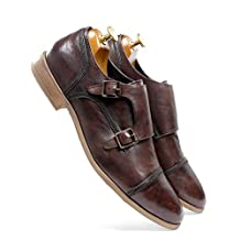 one8 Select by Virat Kohli Men's Brown Leather Monk Strap Shoes