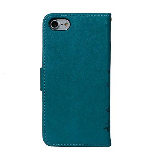 """Hülle für iPhone 7/8, xhorizon Blumenschmetterling magnetische umklappbare Brieftasche Schutzhülle mit Standfunktion und Kartensteckplätzen aus geprägtem PU-Leder für iPhone 7 / iPhone 8[4.7""""] Blau + Stylus + Staubstecker"""