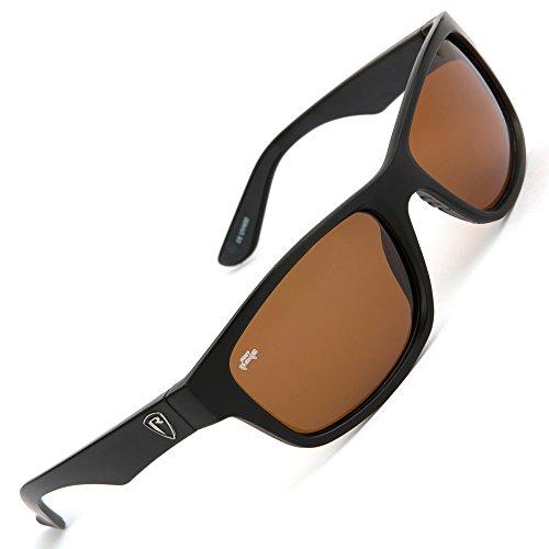 Fox Rage Sunglasses - Polarisationsbrille zum Spinnfischen & Fliegenfischen, Polbrille zum Angeln, Angelbrille zum Raubfischangeln, Modell:Schwarzer Rahmen / Braune Gläser