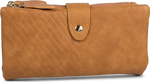 styleBREAKER Damen Portemonnaie mit V-Förmig geprägter Struktur, Druckknopf, Reißverschluss Geldbörse 02040124, Farbe:Camel -
